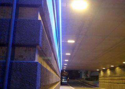 Eclairage architectural - mise en lumière d'un tunnel à Lyon par SES ( Grigny dans le Rhône)
