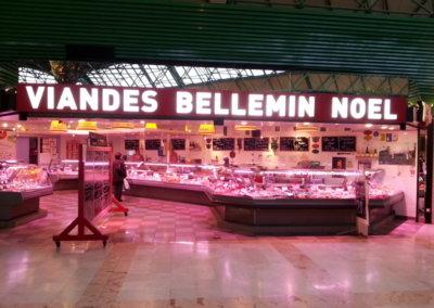 Vos enseignes à Lyon: Enseigne lumineuse avec caisson de façade à proximité de Lyon pour la Boucherie Bellemin C.Cial St Genis 2 - 69230  par SES ( Grigny dans le Rhône)