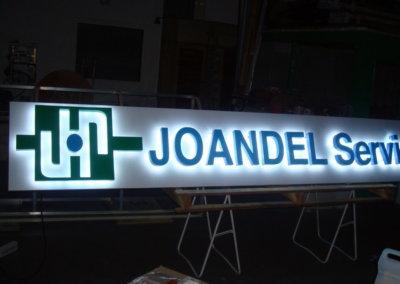 Votre enseigne Lumineuse à Lyon: Enseigne lumineuse avec lettres rétro-éclairées Joandel Services par SES (Grigny -Lyon)