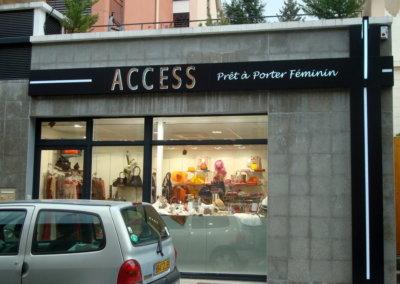 Vos enseignes  lettres relief bloc led à Lyon : Enseigne lumineuse avec lettres bloc led à proximité de Lyon pour Access (Charbonnières 69260) par SES (Grigny dans le Rhöne)