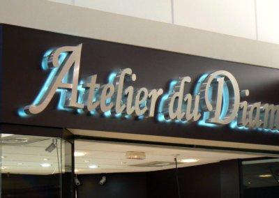 Votre enseigne Lumineuse à Lyon: Enseigne lumineuse avec lettres rétro-éclairées pour l'Atelier du Diamant par SES (Grigny -Lyon)