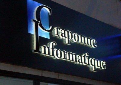 Vos enseignes  lettres relief bloc led à Lyon : Enseigne lumineuse avec lettres en relief PMMA bloc led à proximité de Lyon pour Craponne Informatique (Craponne 69290)