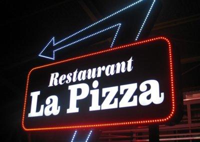 Vos  enseignes à Lyon: Enseigne lumineuse avec diodes pour le Restaurant la pizza-SES (Grigny - Lyon)