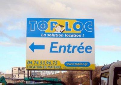 Enseigne panneau aluminium 4x3 pour Top-Loc par SES (Grigny -Lyon)