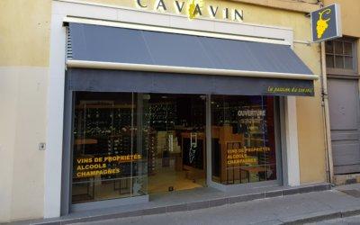 Réalisation d'une enseigne lettres rétro-éclairées, relamping d'un caisson drapeau et marquage adhesif pour CAVAVIN (69004 Lyon)