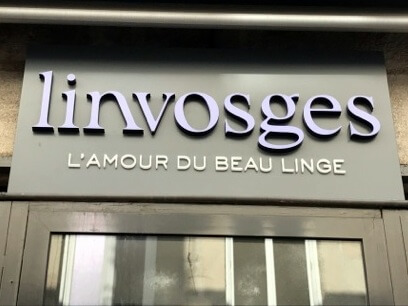 Ensemble d'Enseignes et de Marquages Adhésif de vitrine pour la boutique Linvosges de Saint Etienne (42000)