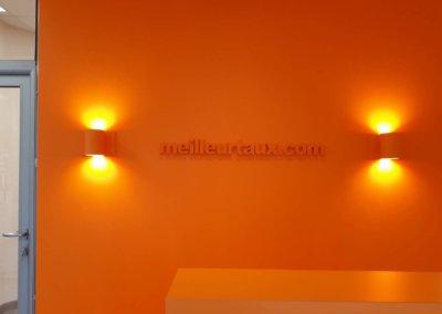 Enseignes à Vienne -Isère - logo en PVC 20 mm découpé collé sur mûr intérieure par SES Grigny -Lyon-