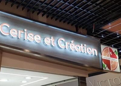 Enseignes à Lyon - Enseigne lumineuse lettres bloc led 30 mm et enseigne Drapeau pour Cerise et Création Halles Paul-Bocuse