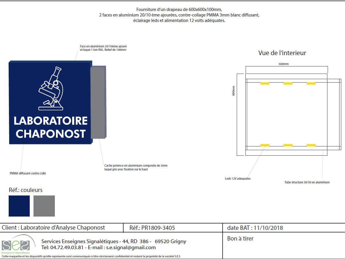 BAT enseigne lumineuse drapeau Laboratoire Chaponost