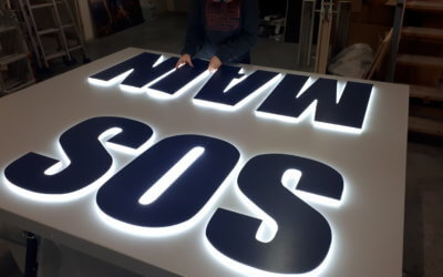 Enseigne lumineuse bloc led pour ICMMS -Villeurbanne