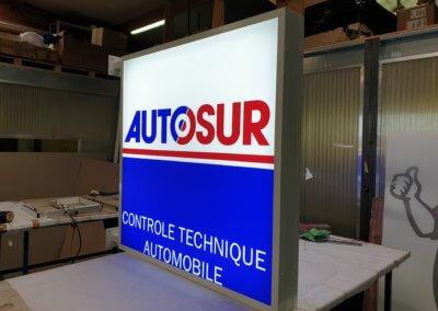 Enseigne double face lumineuse led SES Grigny pour Autosur Loire sur Rhône