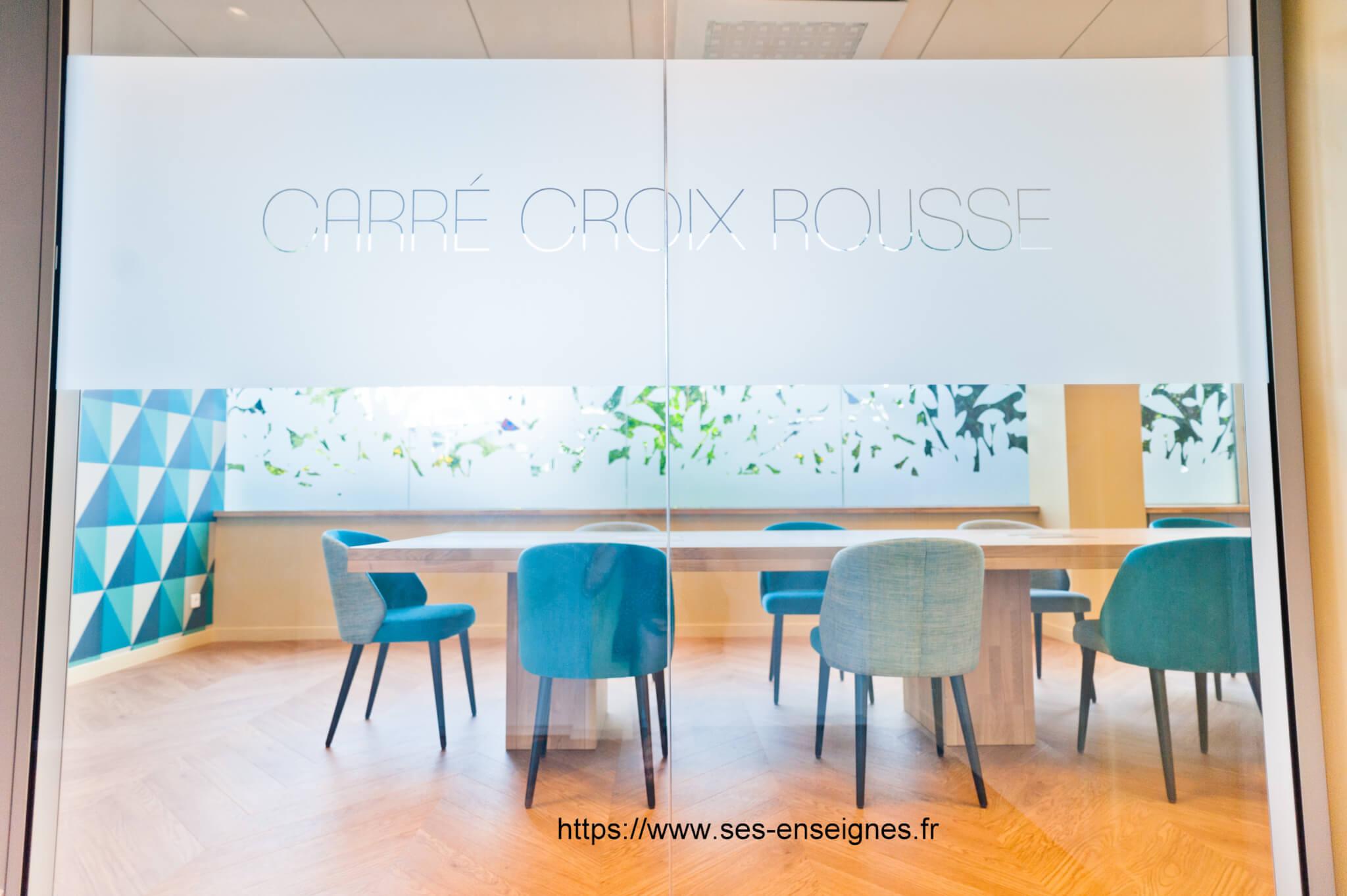 Vitrophanie portes de bureaux Lyon- Adhésif dépoli - Fabrication et installation dépoli