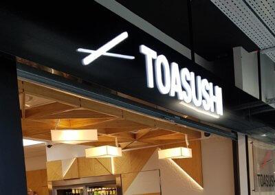 Toasushi Enseigne lumineuse Halles de L'ouest Charbonnières